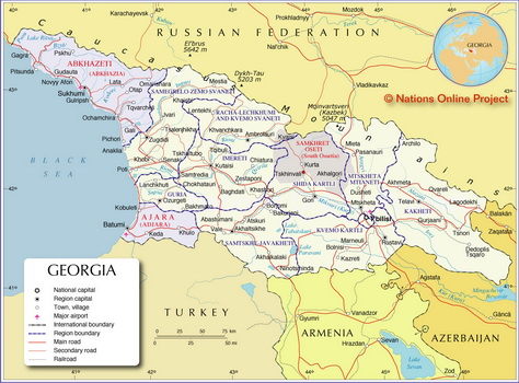 Map of the Caucasus Republic of Georgia